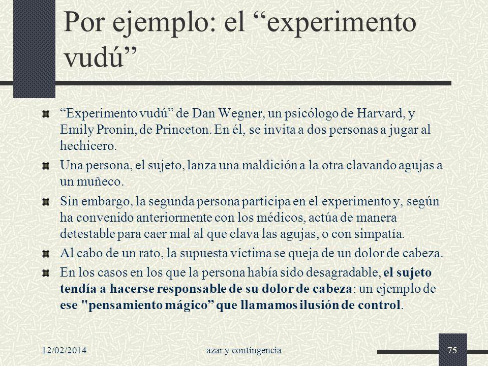 Por ejemplo: el experimento vudú