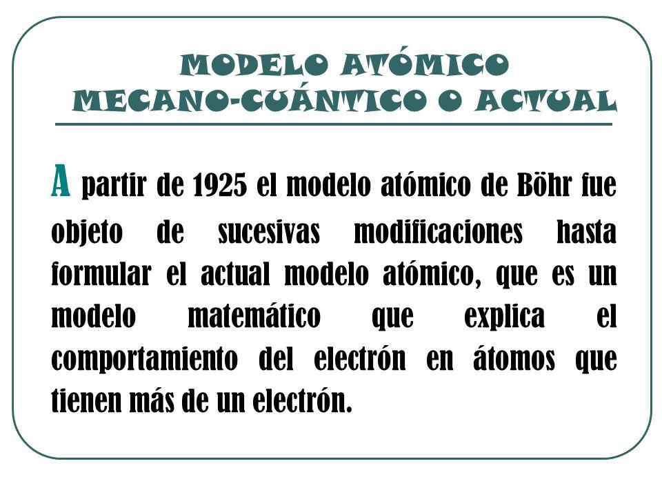 MODELO ATÓMICO MECANO-CUÁNTICO O ACTUAL