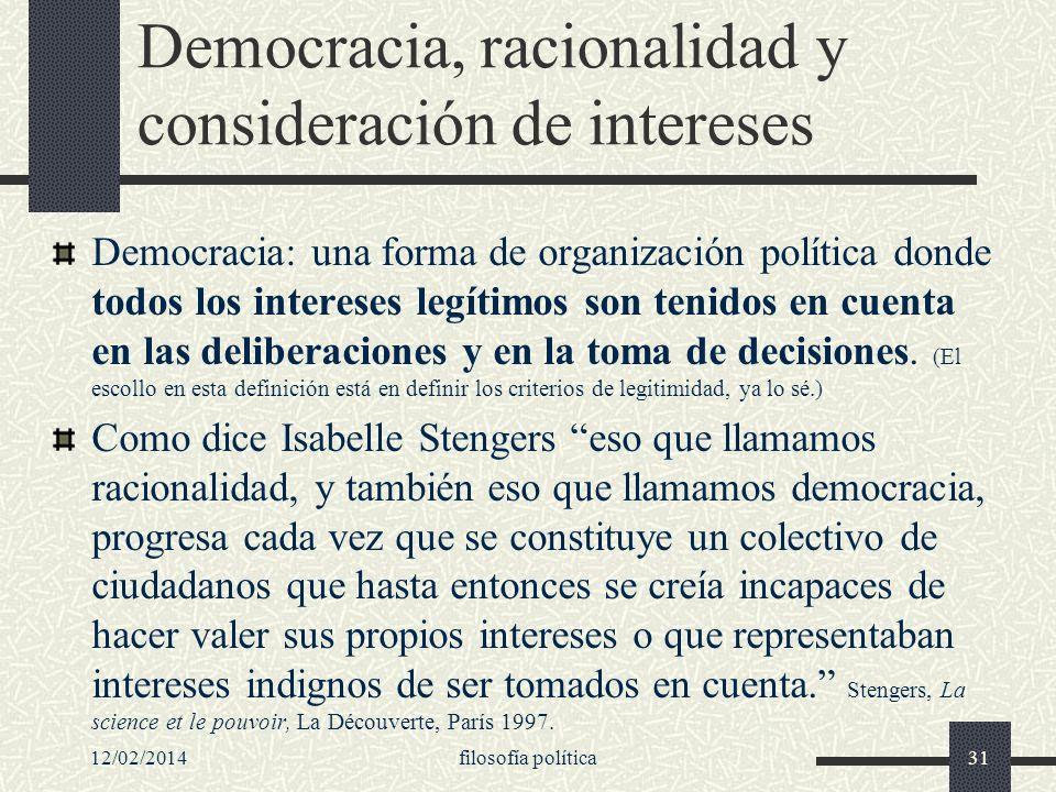 Democracia, racionalidad y consideración de intereses