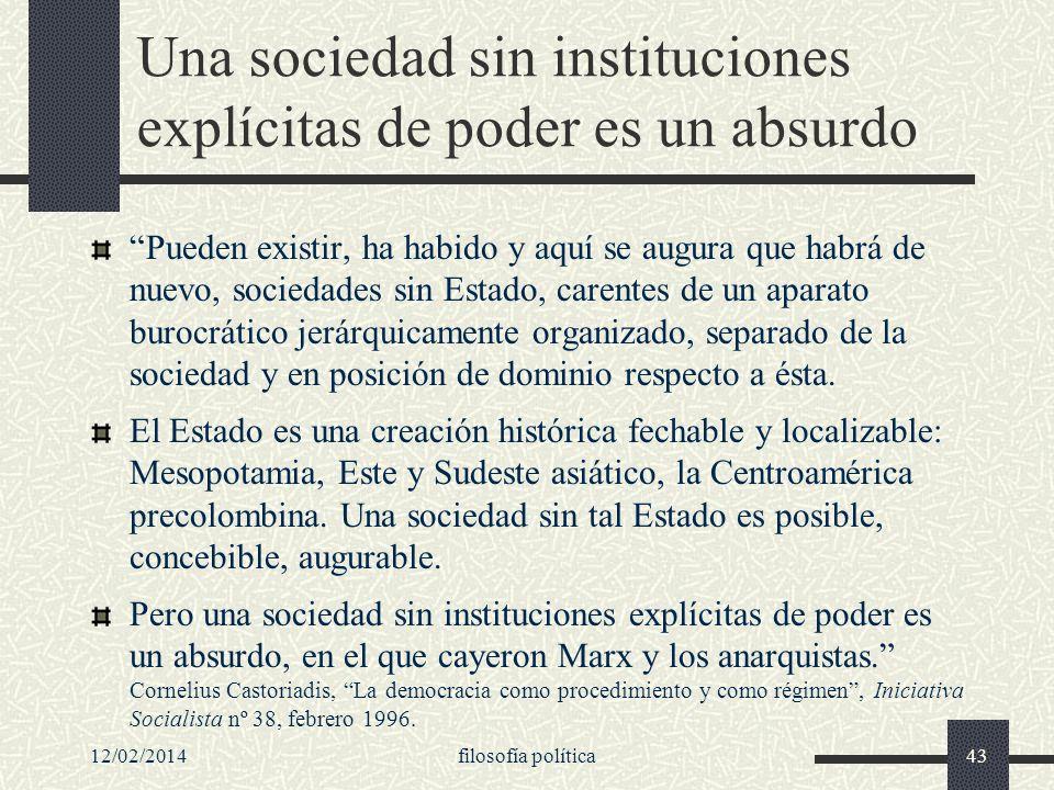Una sociedad sin instituciones explícitas de poder es un absurdo