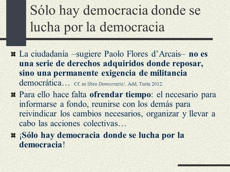 Sólo hay democracia donde se lucha por la democracia