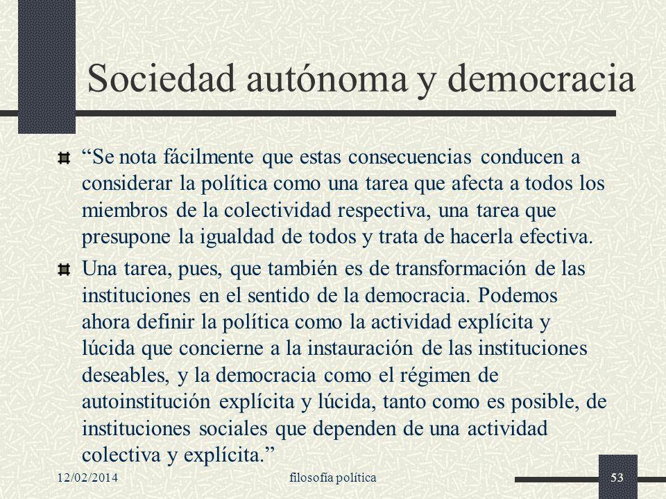 Sociedad autónoma y democracia