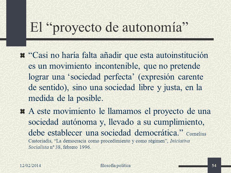 El proyecto de autonomía
