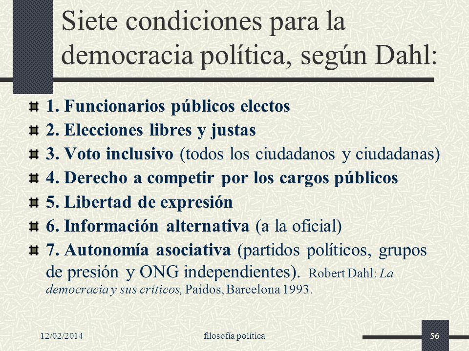 Siete condiciones para la democracia política, según Dahl: