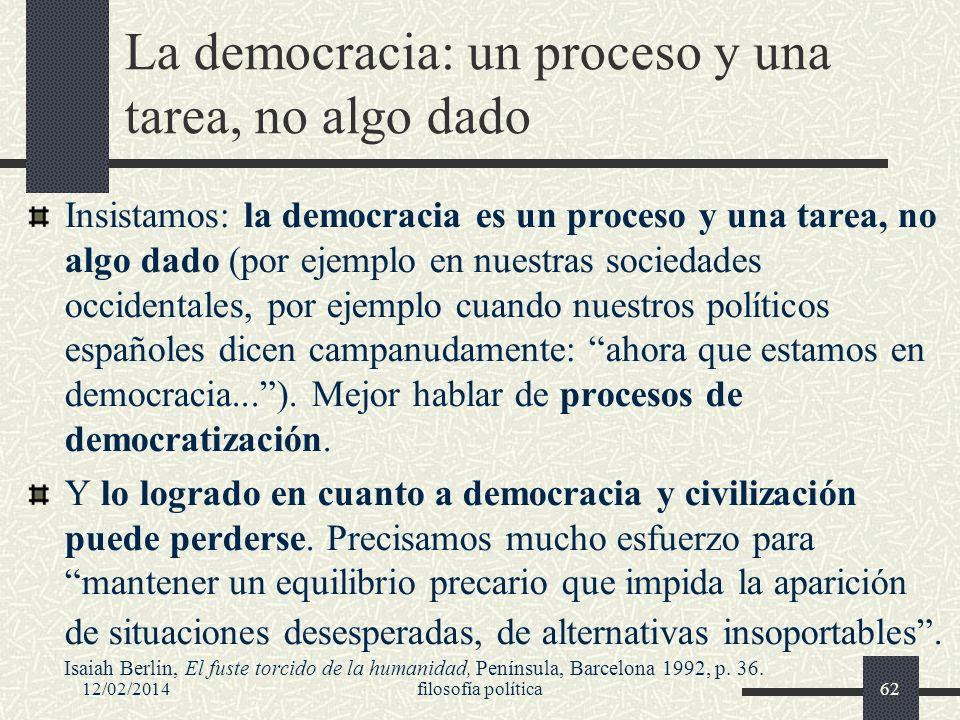 La democracia: un proceso y una tarea, no algo dado