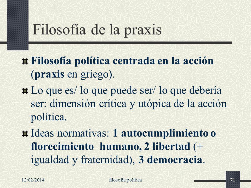 Filosofía de la praxis Filosofía política centrada en la acción (praxis en griego).