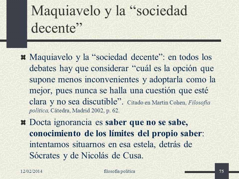Maquiavelo y la sociedad decente