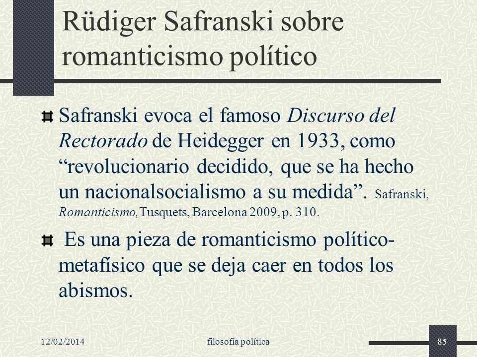 Rüdiger Safranski sobre romanticismo político