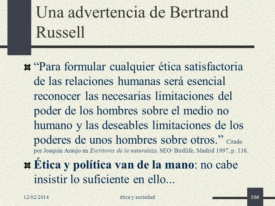 Una advertencia de Bertrand Russell