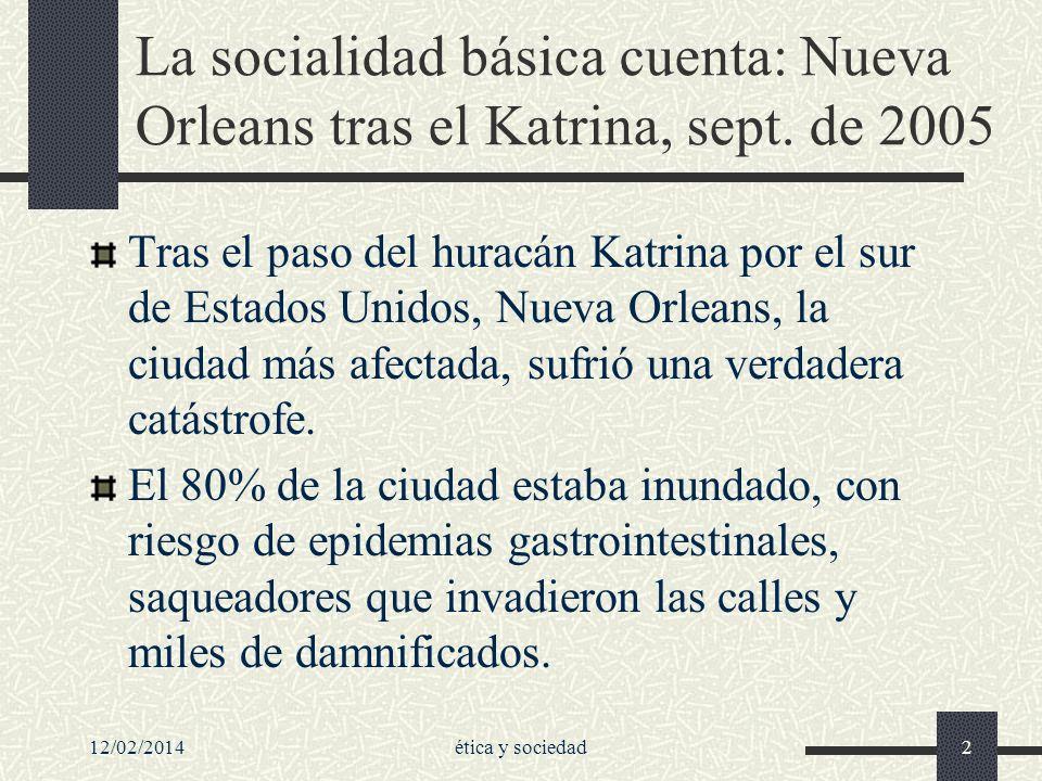 La socialidad básica cuenta: Nueva Orleans tras el Katrina, sept