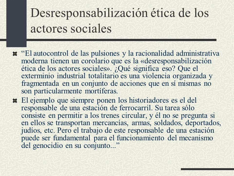 Desresponsabilización ética de los actores sociales