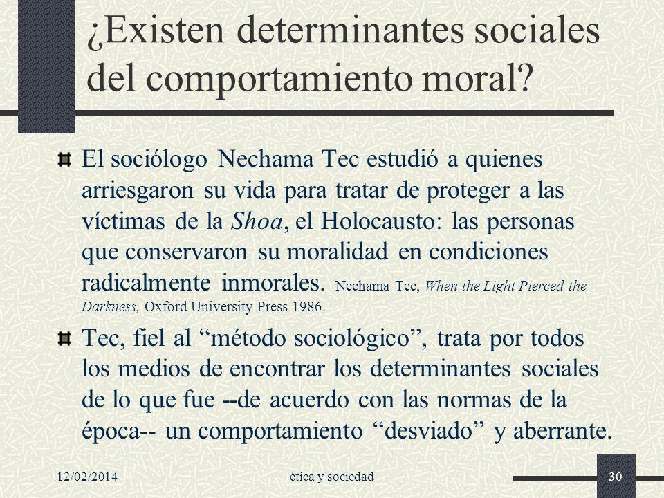 ¿Existen determinantes sociales del comportamiento moral