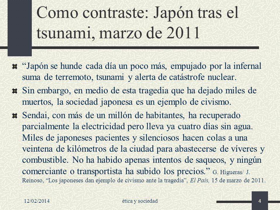 Como contraste: Japón tras el tsunami, marzo de 2011