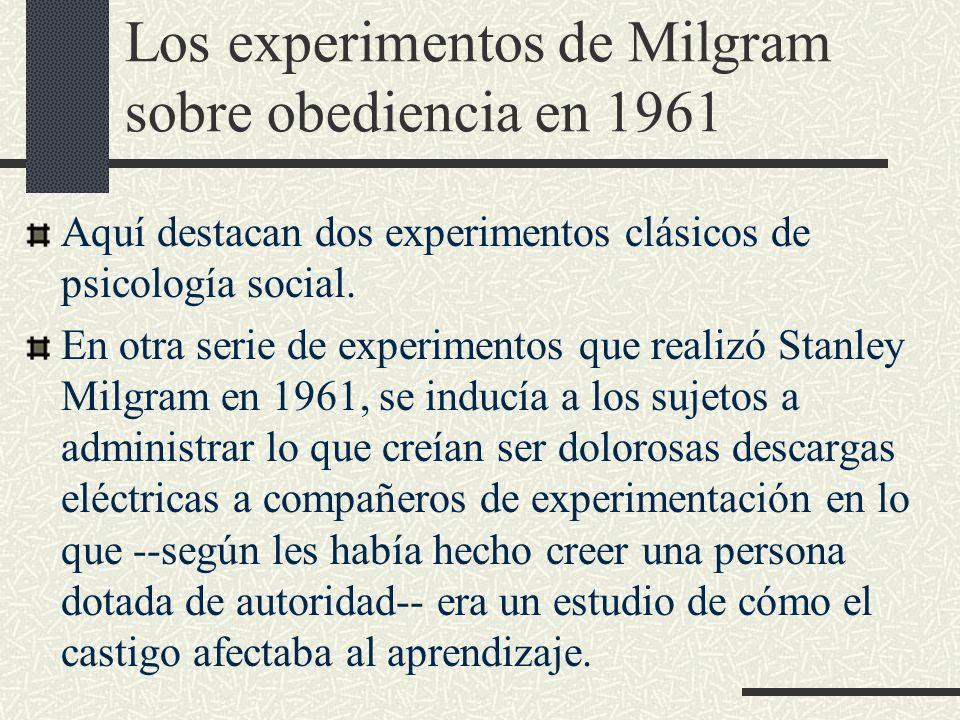 Los experimentos de Milgram sobre obediencia en 1961