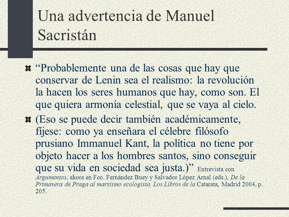 Una advertencia de Manuel Sacristán