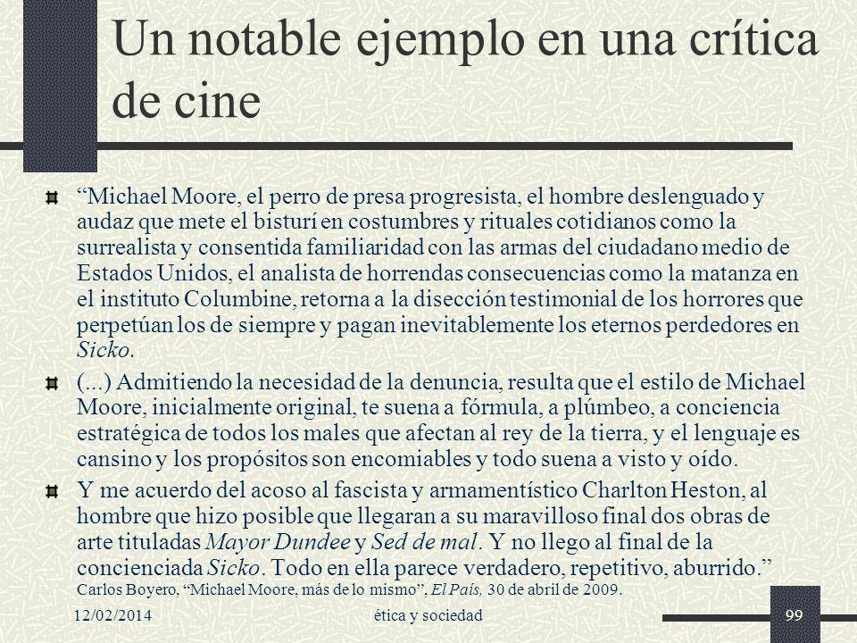 Un notable ejemplo en una crítica de cine