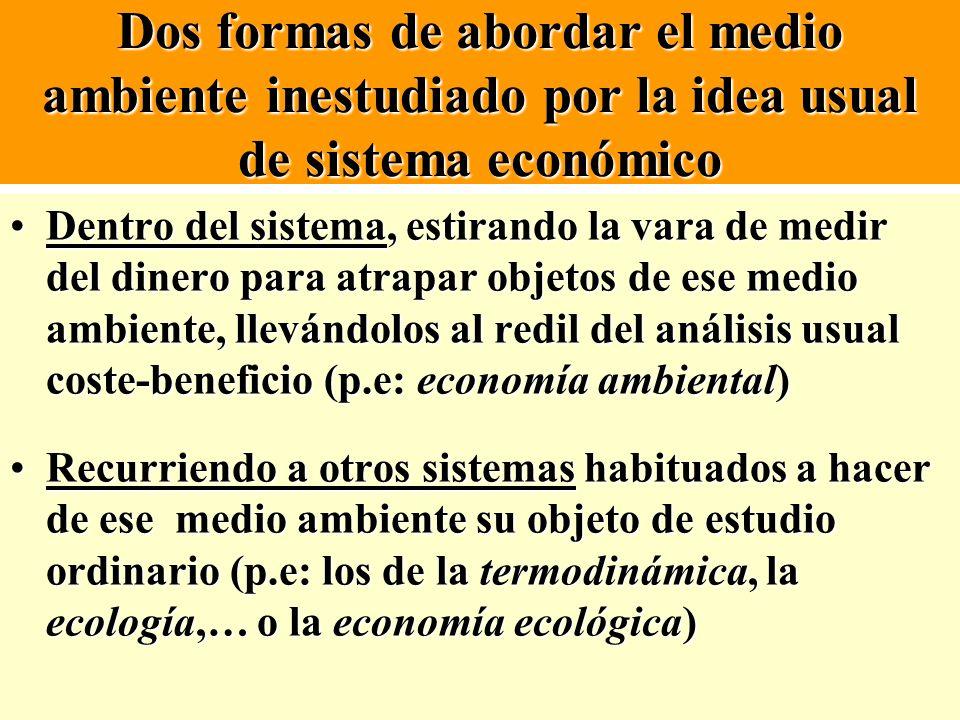 Dos formas de abordar el medio ambiente inestudiado por la idea usual de sistema económico