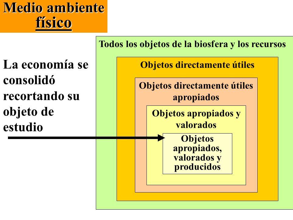 Medio ambiente físico Todos los objetos de la biosfera y los recursos. La economía se consolidó recortando su objeto de estudio.