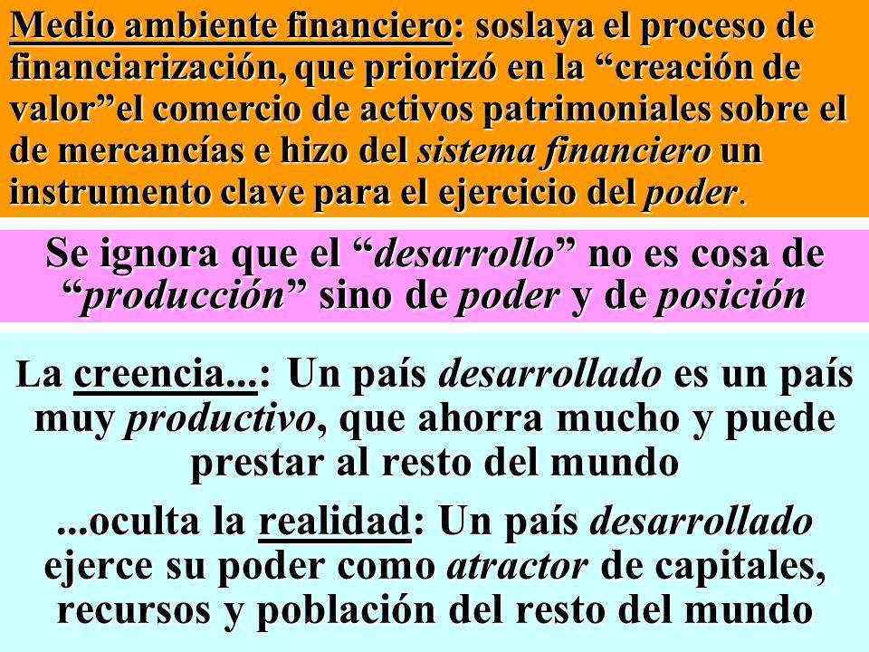 Medio ambiente financiero: soslaya el proceso de financiarización, que priorizó en la creación de valor el comercio de activos patrimoniales sobre el de mercancías e hizo del sistema financiero un instrumento clave para el ejercicio del poder.