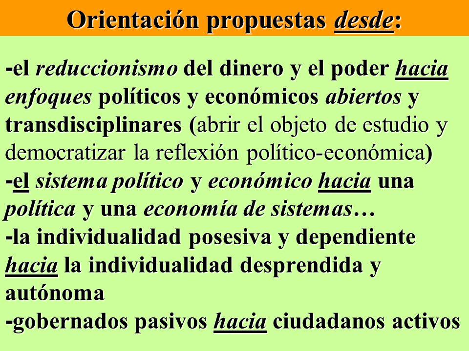 Orientación propuestas desde: