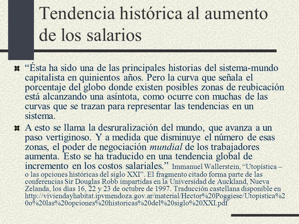 Tendencia histórica al aumento de los salarios