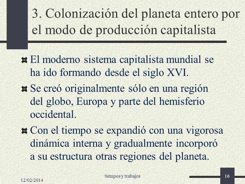 3. Colonización del planeta entero por el modo de producción capitalista