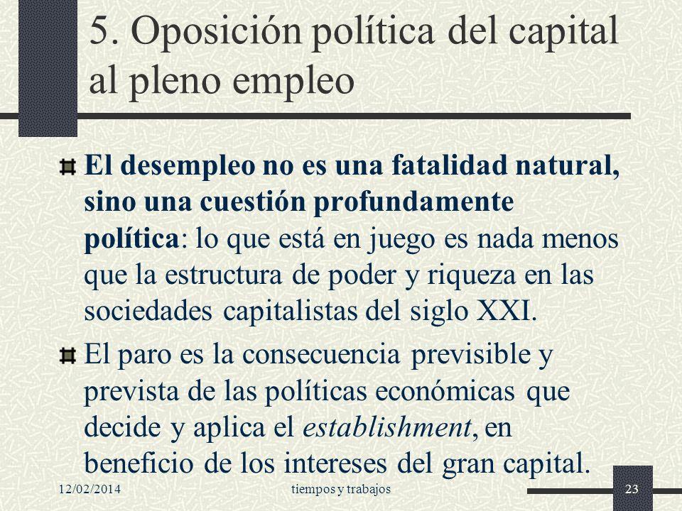 5. Oposición política del capital al pleno empleo