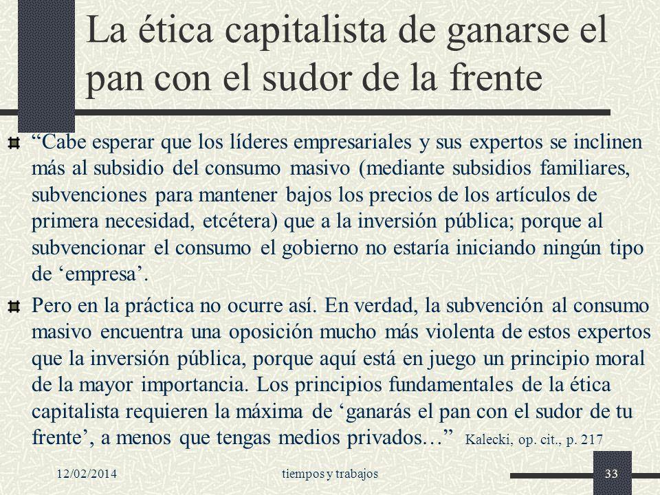 La ética capitalista de ganarse el pan con el sudor de la frente