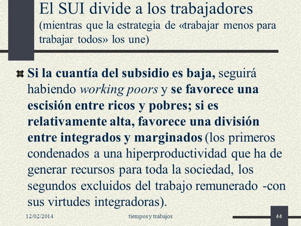 El SUI divide a los trabajadores (mientras que la estrategia de «trabajar menos para trabajar todos» los une)