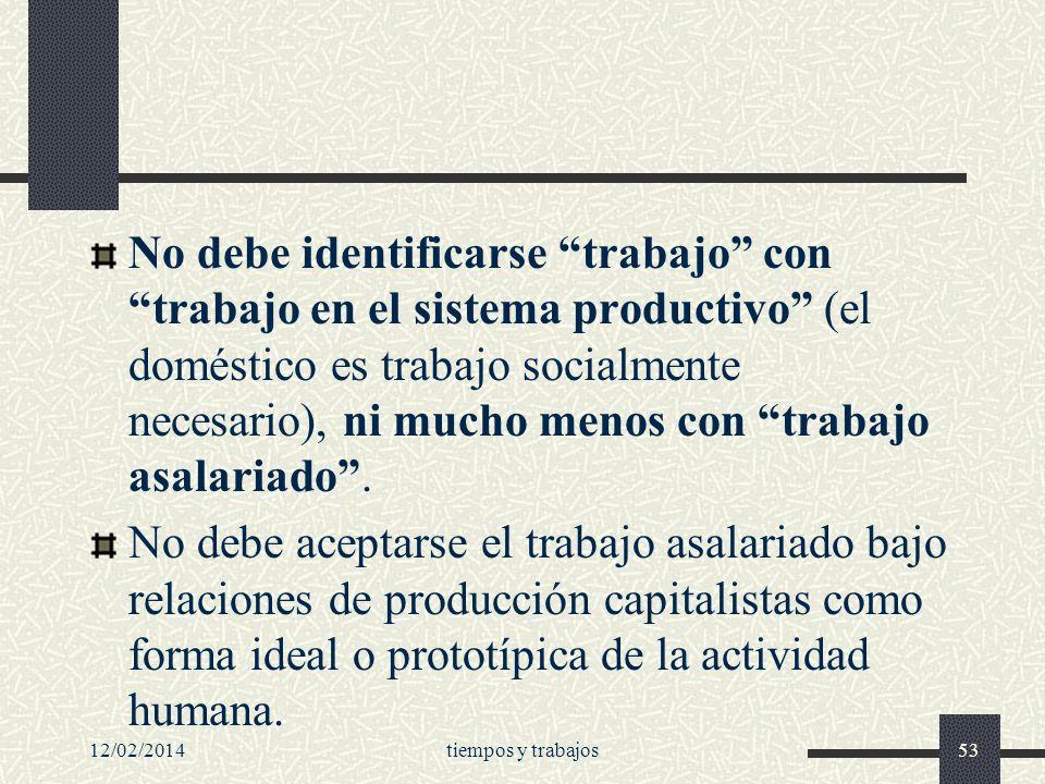No debe identificarse trabajo con trabajo en el sistema productivo (el doméstico es trabajo socialmente necesario), ni mucho menos con trabajo asalariado .