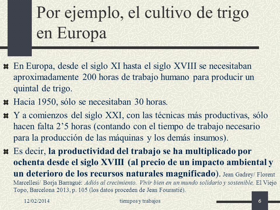 Por ejemplo, el cultivo de trigo en Europa
