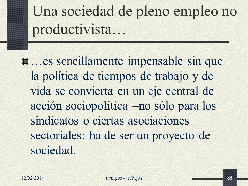 Una sociedad de pleno empleo no productivista…