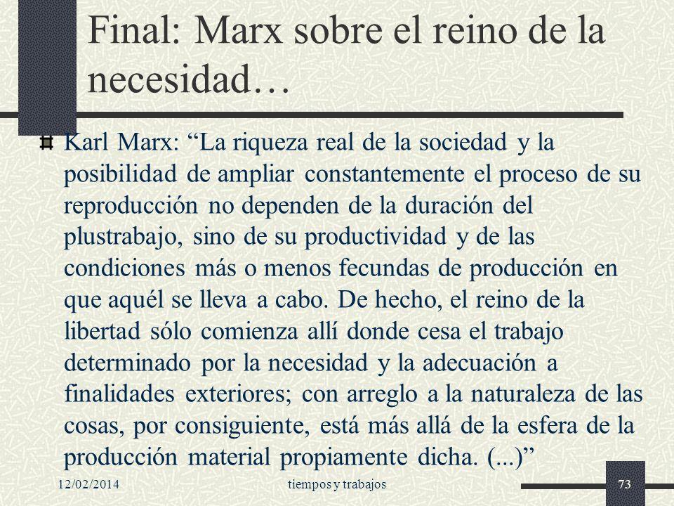 Final: Marx sobre el reino de la necesidad…