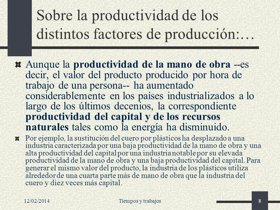 Sobre la productividad de los distintos factores de producción:…