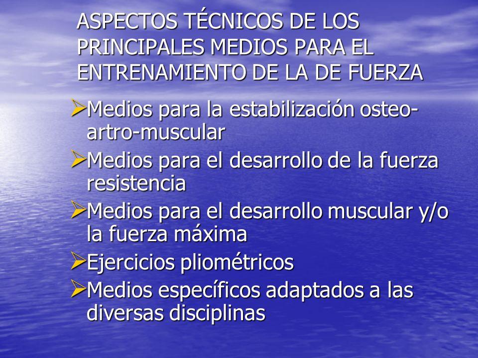 ASPECTOS TÉCNICOS DE LOS PRINCIPALES MEDIOS PARA EL ENTRENAMIENTO DE LA DE FUERZA