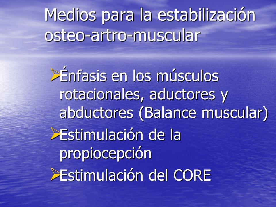 Medios para la estabilización osteo-artro-muscular