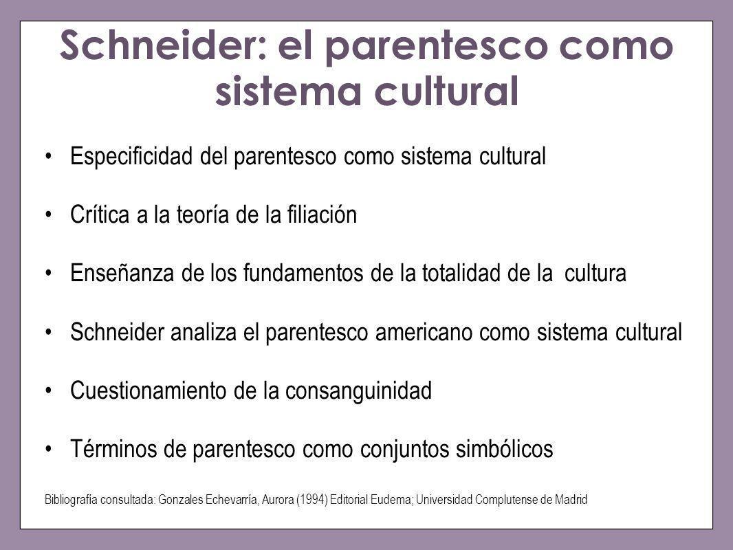 Schneider: el parentesco como sistema cultural