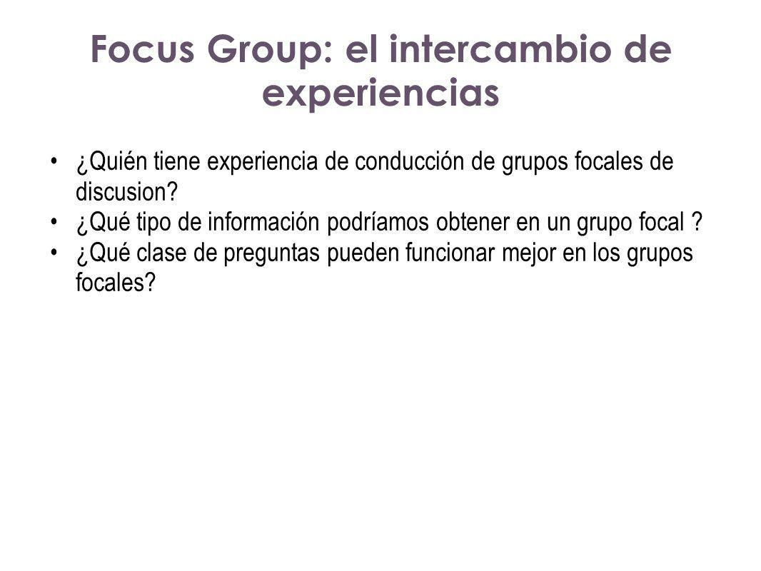 Focus Group: el intercambio de experiencias