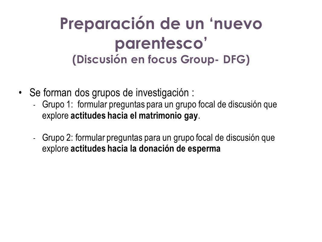 Preparación de un 'nuevo parentesco' (Discusión en focus Group- DFG)