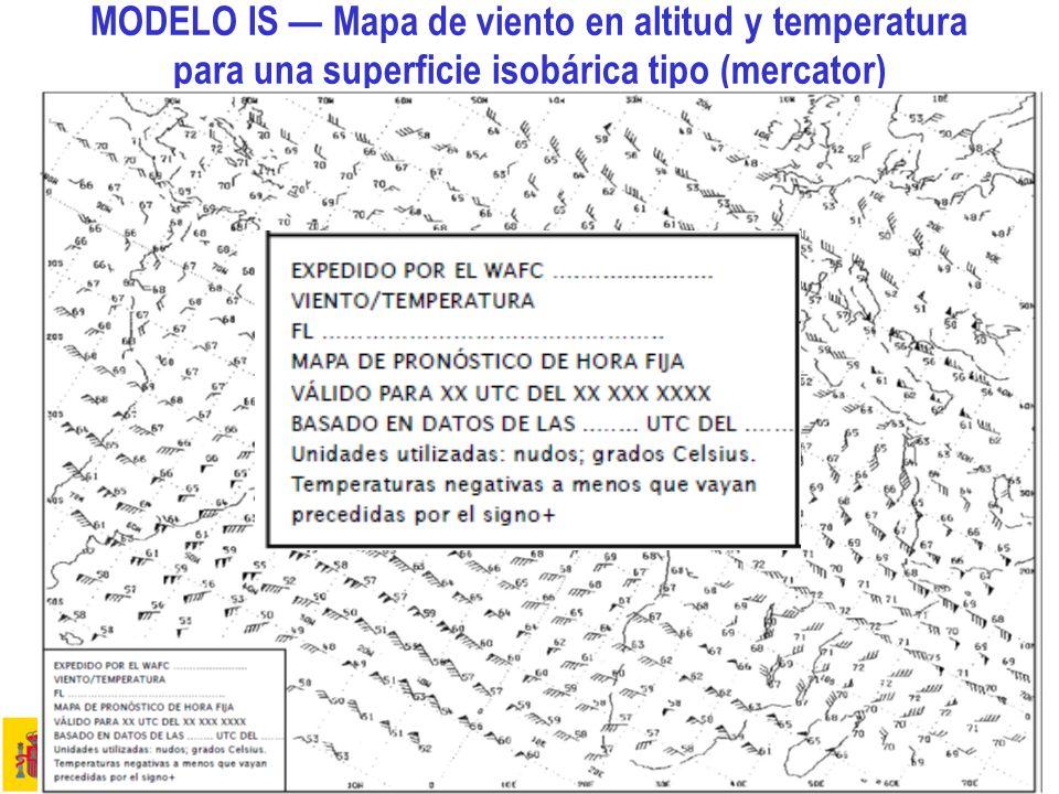 MODELO IS — Mapa de viento en altitud y temperatura para una superficie isobárica tipo (mercator)