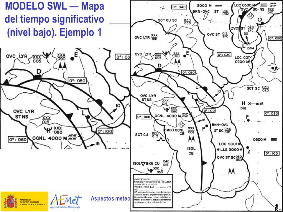 MODELO SWL — Mapa del tiempo significativo (nivel bajo). Ejemplo 1