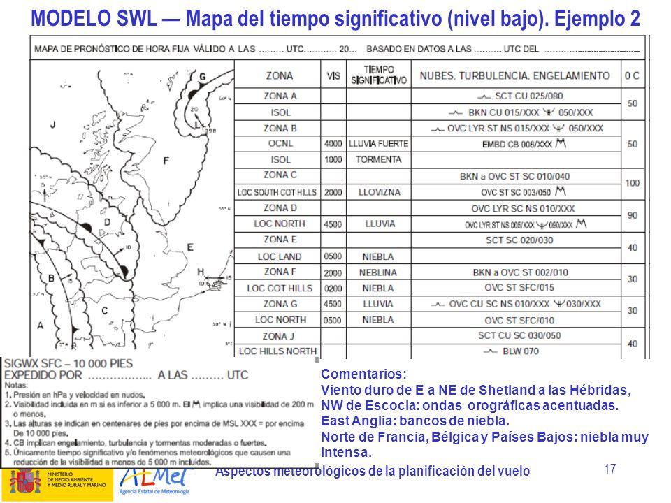 MODELO SWL — Mapa del tiempo significativo (nivel bajo). Ejemplo 2