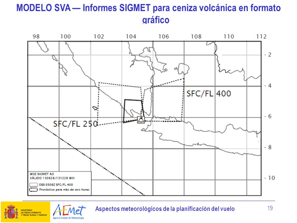 MODELO SVA — Informes SIGMET para ceniza volcánica en formato gráfico