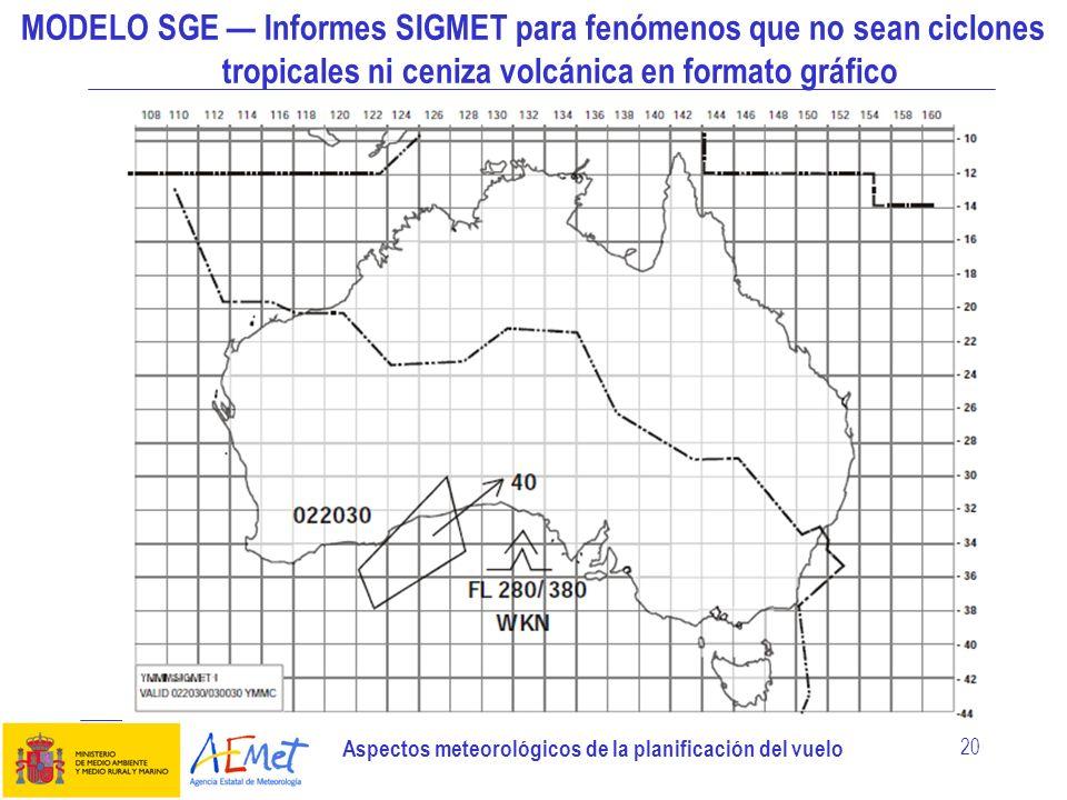 MODELO SGE — Informes SIGMET para fenómenos que no sean ciclones tropicales ni ceniza volcánica en formato gráfico