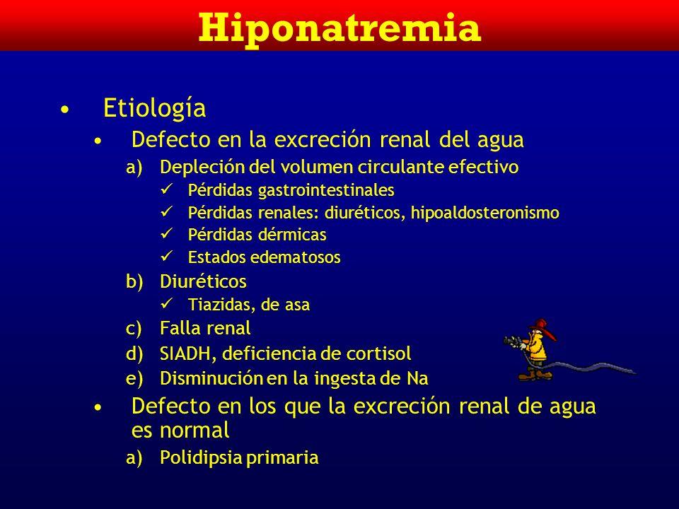 Hiponatremia Etiología Defecto en la excreción renal del agua