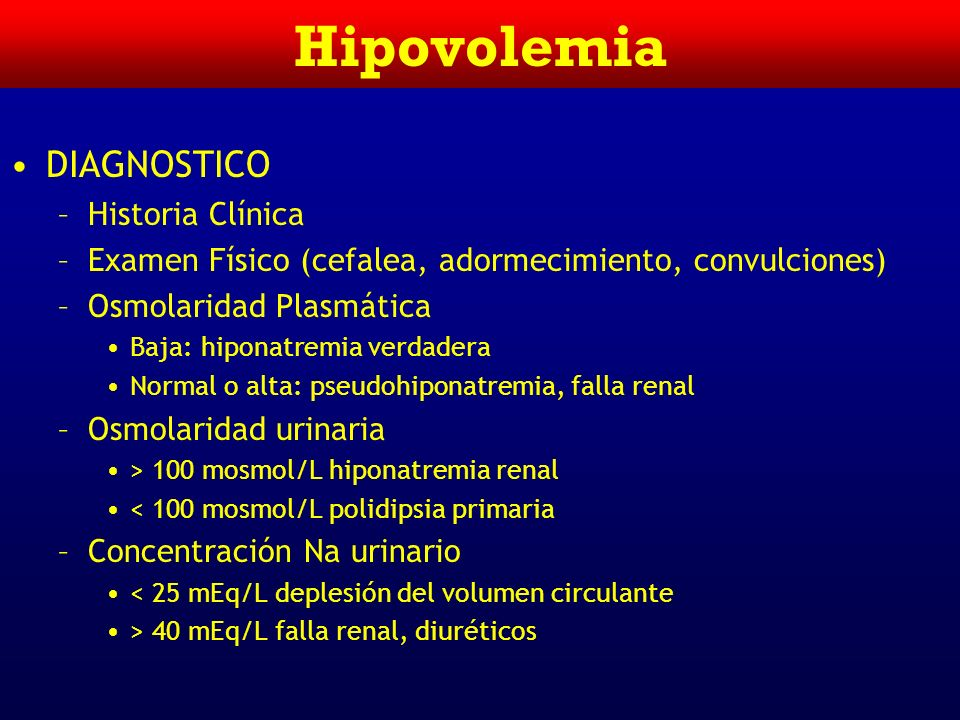 Hipovolemia DIAGNOSTICO Historia Clínica