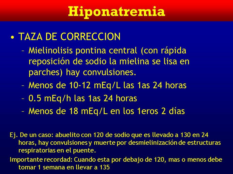 Hiponatremia TAZA DE CORRECCION