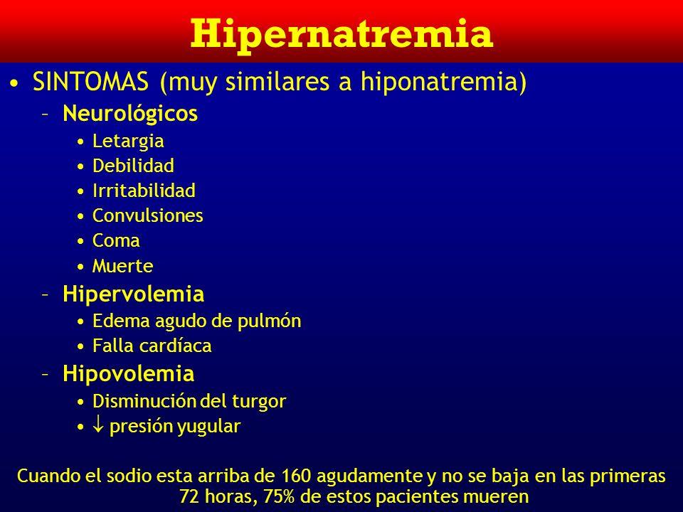 Hipernatremia SINTOMAS (muy similares a hiponatremia) Neurológicos