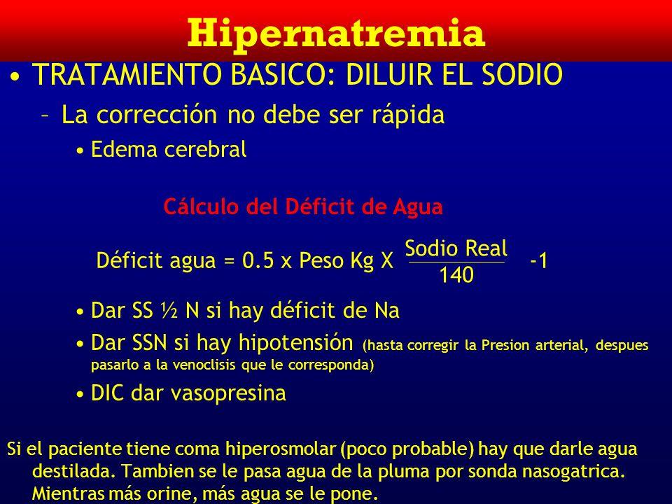 Hipernatremia TRATAMIENTO BASICO: DILUIR EL SODIO