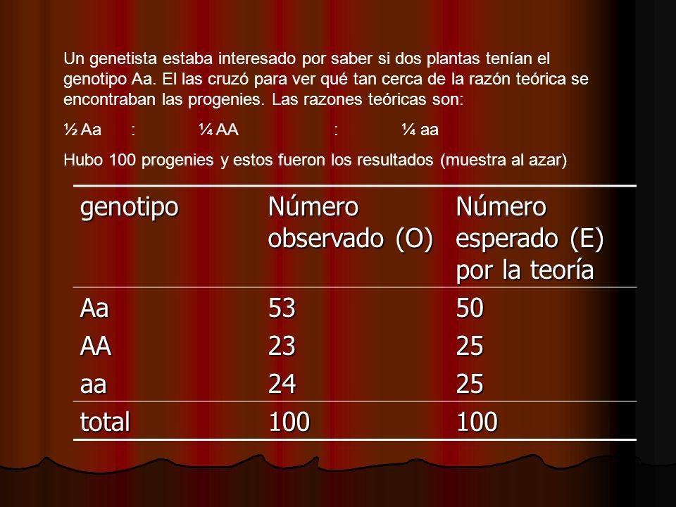 Número esperado (E) por la teoría Aa AA aa 53 23 24 50 25